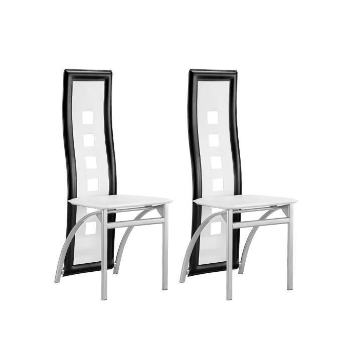 Eiffel lot de 2 chaises de salle a manger noires et for Chaises salle a manger design blanches