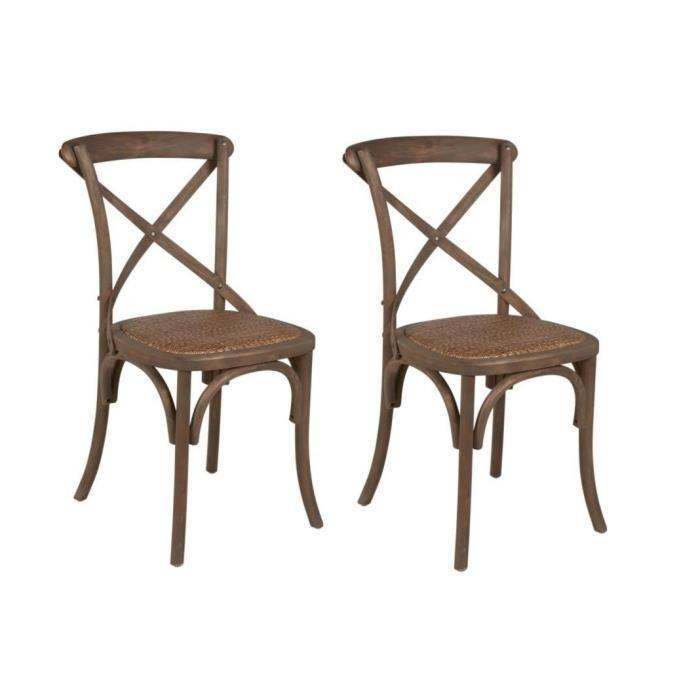 romance lot de 2 chaises de salle a manger en bouleau massif bois naturel rotin tress 358207. Black Bedroom Furniture Sets. Home Design Ideas