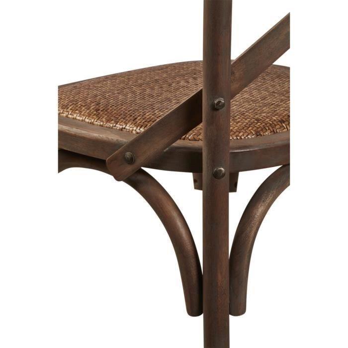 Romance lot de 2 chaises de salle a manger en bouleau for Chaise en bois et rotin