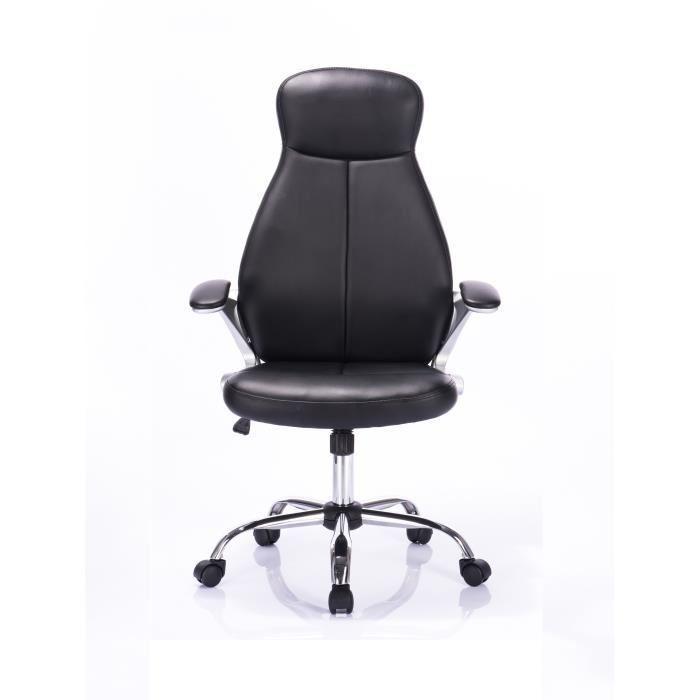 aucune austin fauteuil de bureau noir pieds chrom s ergonomique 380354. Black Bedroom Furniture Sets. Home Design Ideas