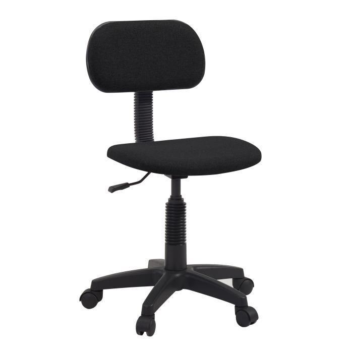 Pikto chaise dactylo de bureau reglable en hauteur tissu for Chaise en tissu noir