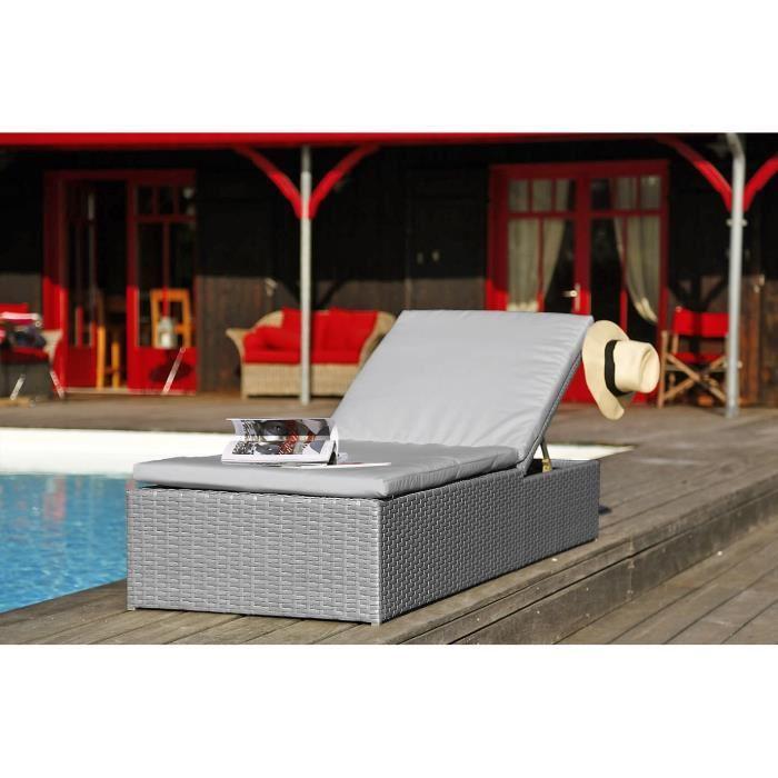 bain de soleil 4 positions en resine tressee gris 200 x 66 x 30 cm 281750. Black Bedroom Furniture Sets. Home Design Ideas