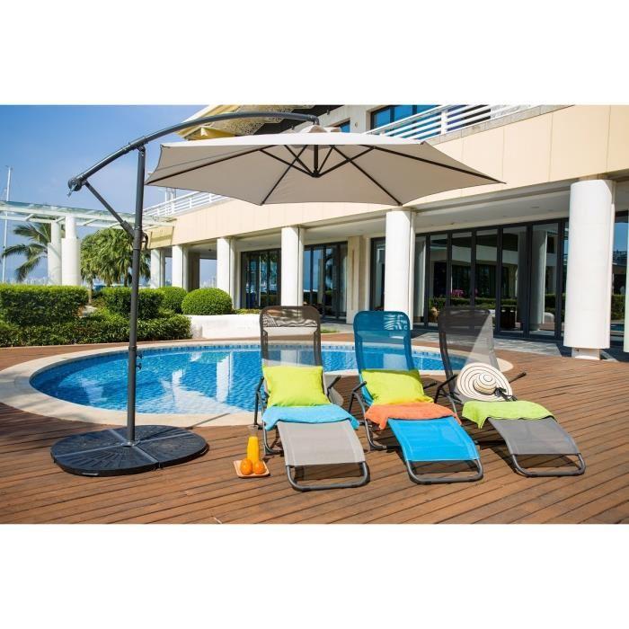 aucune lot 2 bains de soleil en textilene 2 positions gris taupe 263295. Black Bedroom Furniture Sets. Home Design Ideas