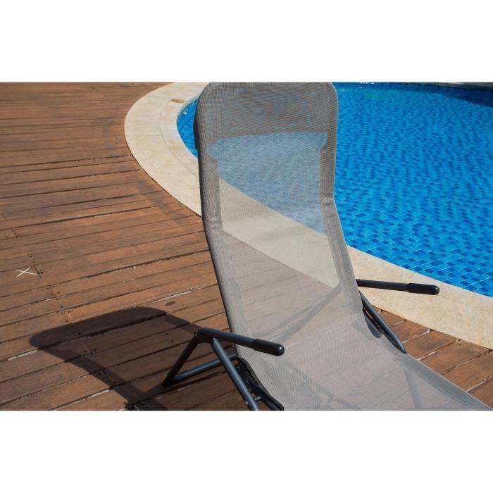 Aucune lot 2 bains de soleil en textilene 2 positions gris taupe 263295 - Bain de soleil taupe ...