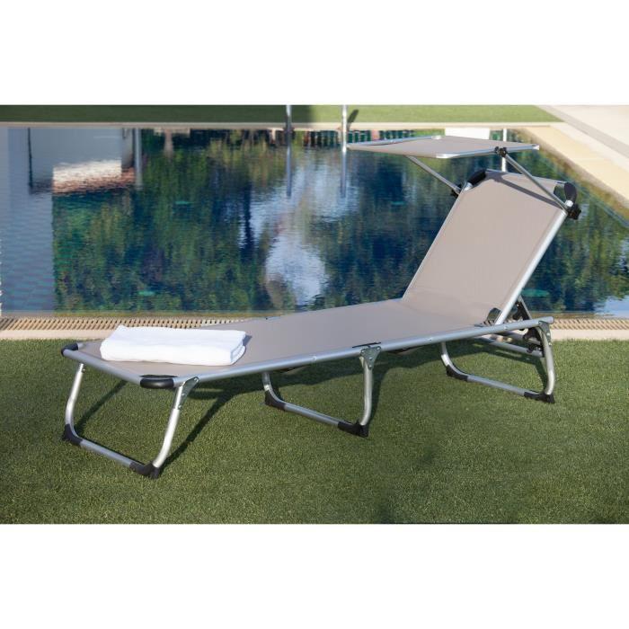 Bain de soleil bikini en acier et textilene 187x59x30 cm for Transat et chaise longue