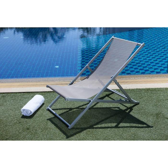 Transat aloha en acier et textilene 102x58x94 cm taupe for Transat et chaise longue
