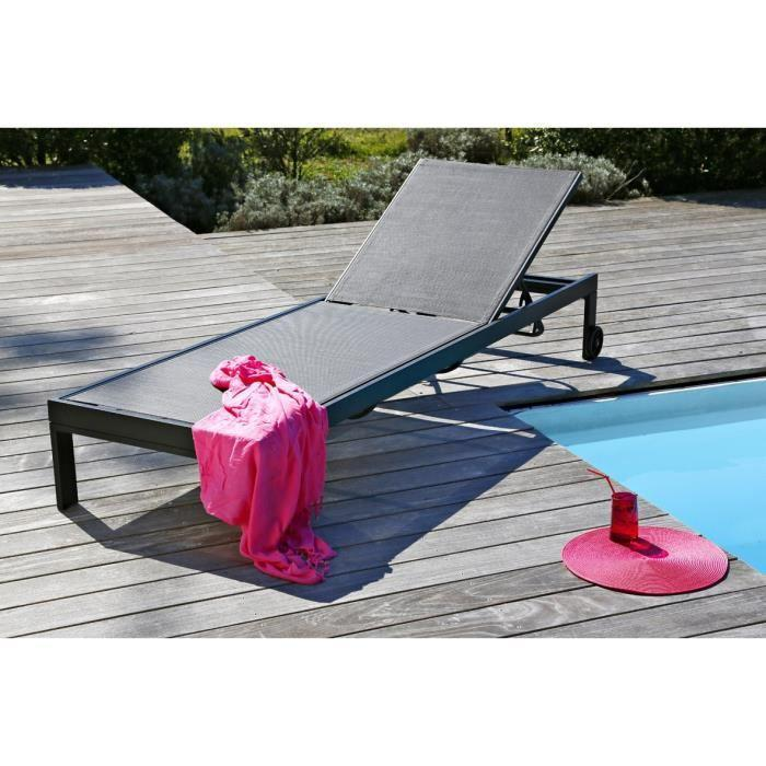 Loungitude bain de soleil alu textilene 263292 for Chaise longue textilene