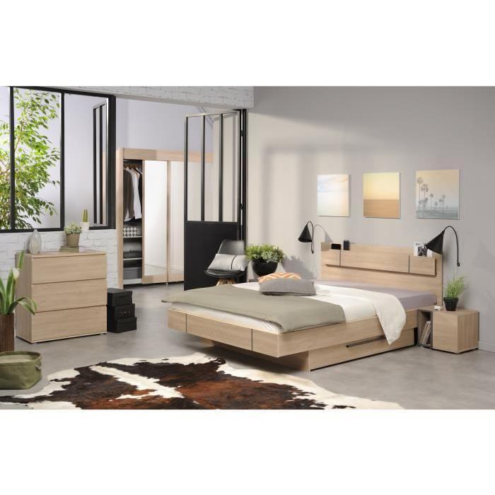 Chambre A Coucher Complete Aucune   BROOK Chambre Adulte Complete Style  Contemporain Décor Chene Brooklyn Mat