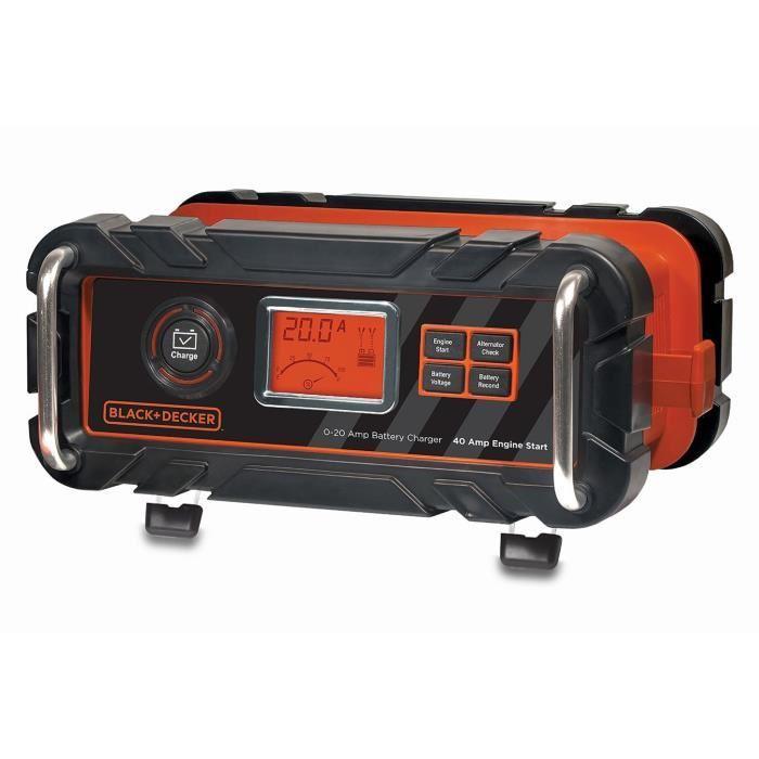 black et decker chargeur de batterie 20 a demarreur 40a noir et rouge 400720. Black Bedroom Furniture Sets. Home Design Ideas