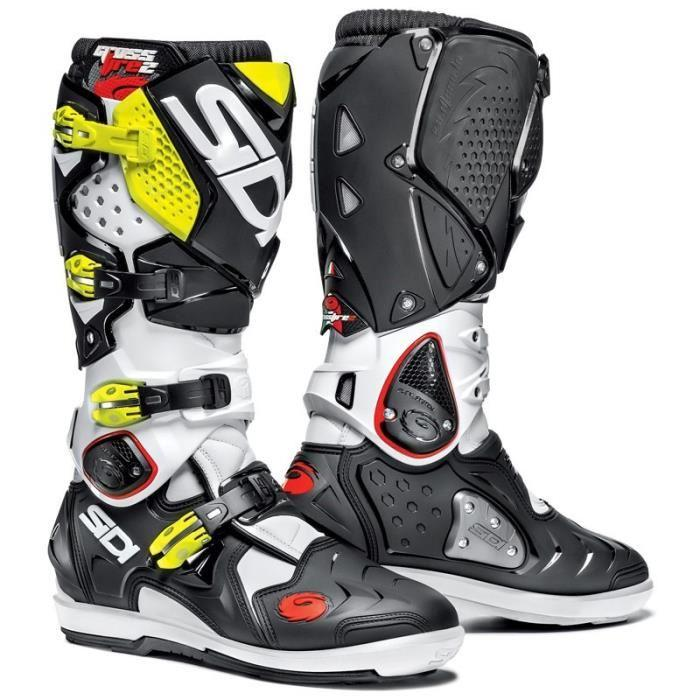 sidi sidi bottes moto cross crossfire 2 srs noir jaune fluo 326669. Black Bedroom Furniture Sets. Home Design Ideas