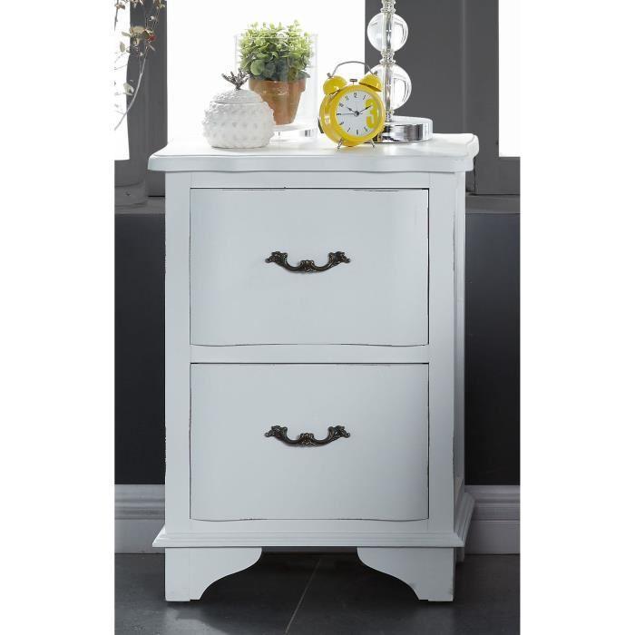 aucune amboise table de chevet 45 cm laqu blanc mat 430788. Black Bedroom Furniture Sets. Home Design Ideas