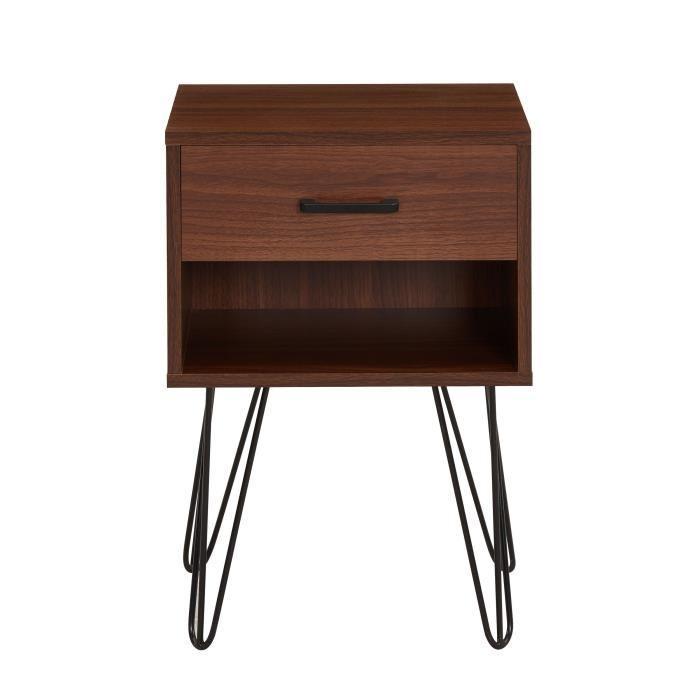 aucune emiliette table de chevet 40 cm decor noyer 430158. Black Bedroom Furniture Sets. Home Design Ideas