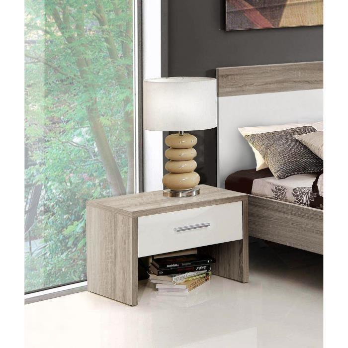 aucune helen chevet chene gris et blanc brillant 237277. Black Bedroom Furniture Sets. Home Design Ideas