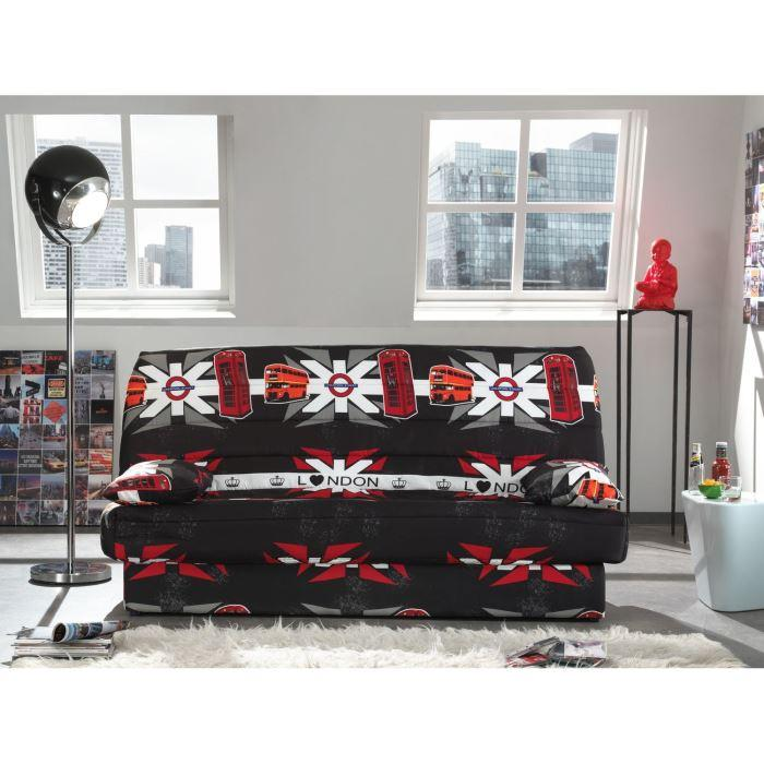 coco banquette clic clac convertible lit coffre 3 places tissu polyester imprim london 263441. Black Bedroom Furniture Sets. Home Design Ideas
