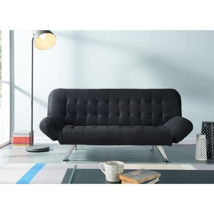 lewis banquette clic clac 3 places 189x94x87cm tissu noir 377075. Black Bedroom Furniture Sets. Home Design Ideas