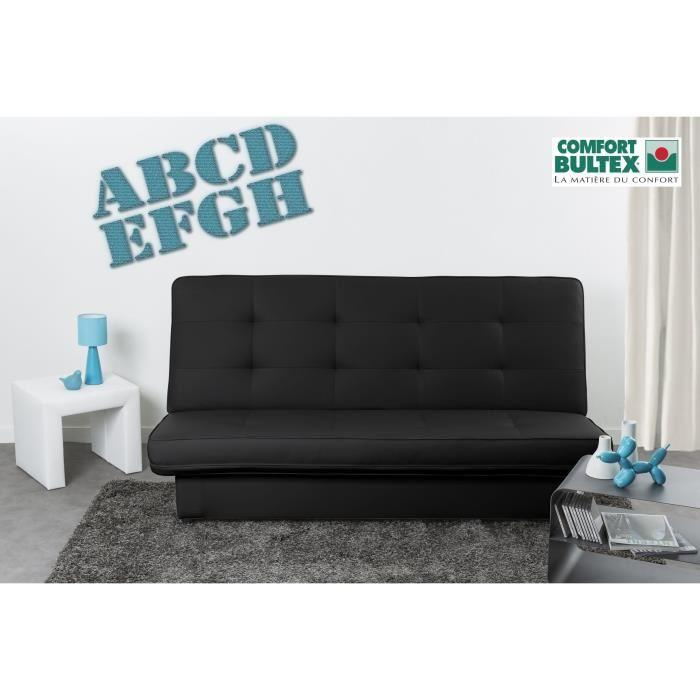 posh banquette clic clac convertible lit bultex 3 places simili noire 263460. Black Bedroom Furniture Sets. Home Design Ideas