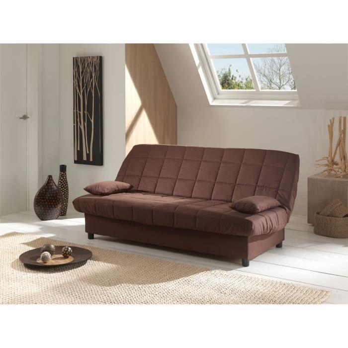 staro banquette clic clac convertible lit 3 places tissu uni marron chocolat 263462. Black Bedroom Furniture Sets. Home Design Ideas