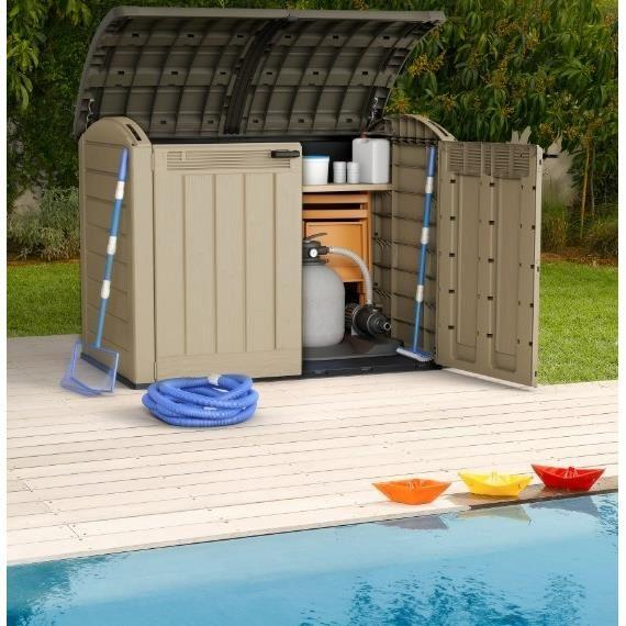 Keter grand coffre multifonctions pour le jardin 2000l for Local technique piscine plastique