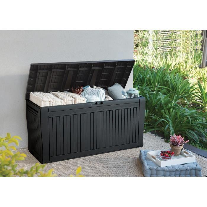 panama coffre de rangement en resine pour le jardin 270 l anthracite 360746. Black Bedroom Furniture Sets. Home Design Ideas