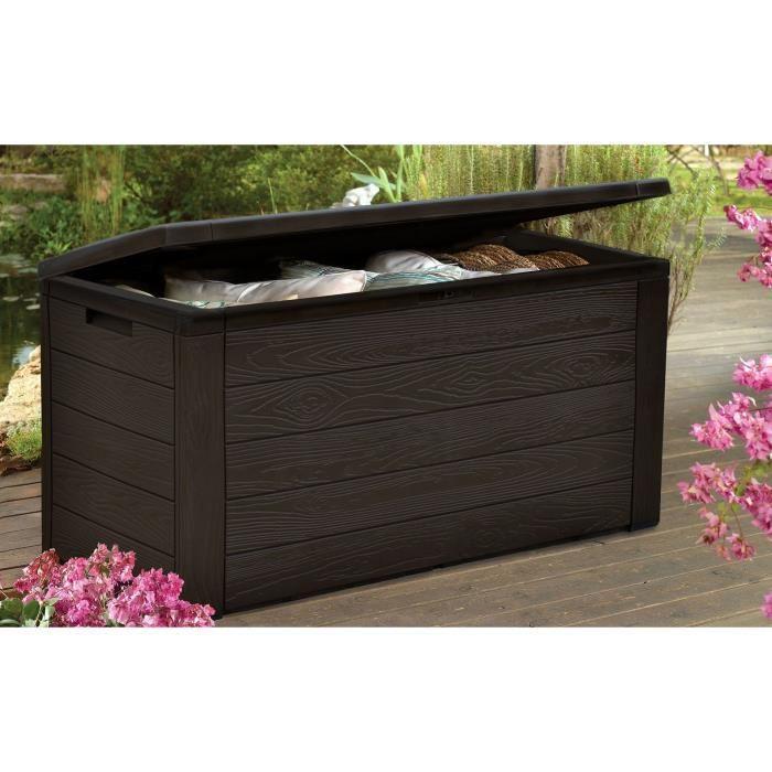 malle de rangement en resine 300 l marron aspect bois 120 x 46 x 58 cm 631658. Black Bedroom Furniture Sets. Home Design Ideas