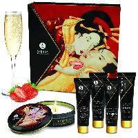 Coffrets decouverte massage SHUNGA - Kit Secret de Geisha Vin Petillant - Fraise
