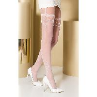 Collants Max Passion - Collant Blanc Effet Porte Jarretelles TI0108 T 1/2