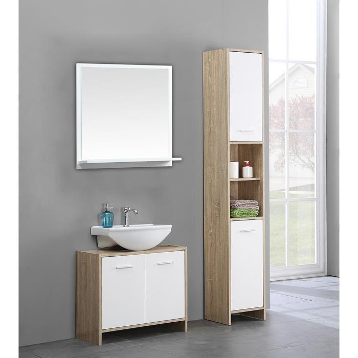 Aucune bani colonne salle de bain etageres portes 312912 for Article de salle de bain