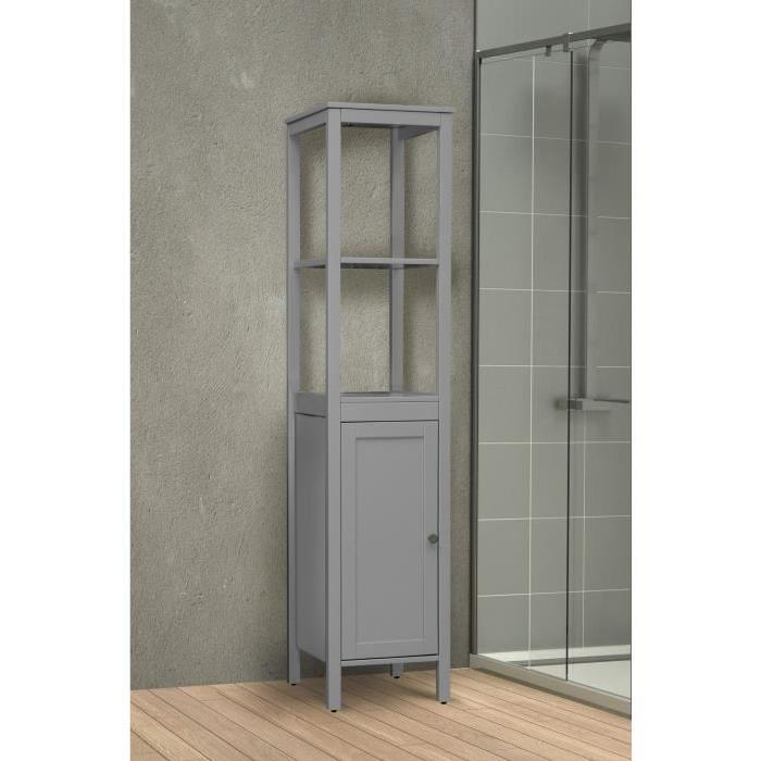 elegance colonne de salle de bain l 36 cm placage bois pin gris 600382. Black Bedroom Furniture Sets. Home Design Ideas