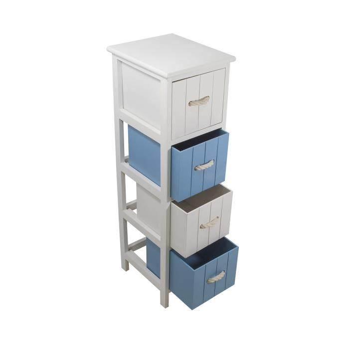 jersey meuble de salle de bain 4 tiroirs bois 25 cm blanc et bleu 292307. Black Bedroom Furniture Sets. Home Design Ideas