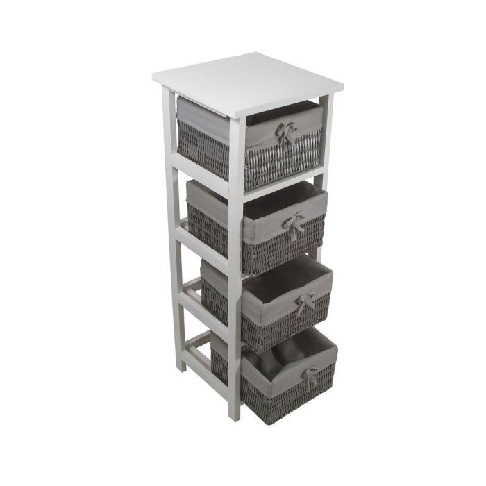 palma meuble de salle de bain 4 tiroirs paniers 30 cm osier gris 292309. Black Bedroom Furniture Sets. Home Design Ideas