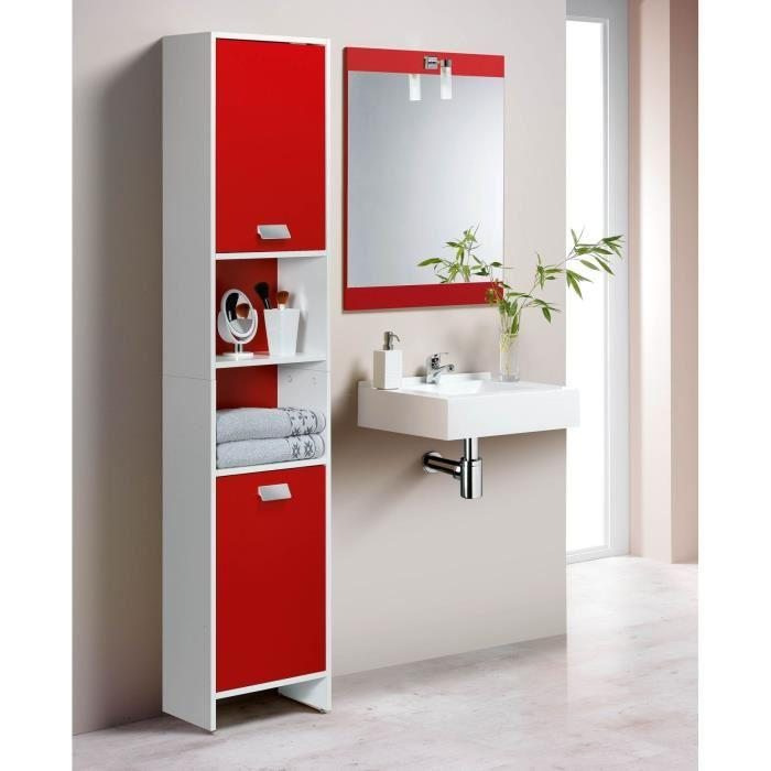 Aucune top colonne de salle de bain 2 portes blanc rouge 317400 - Colonne salle de bain blanc ...
