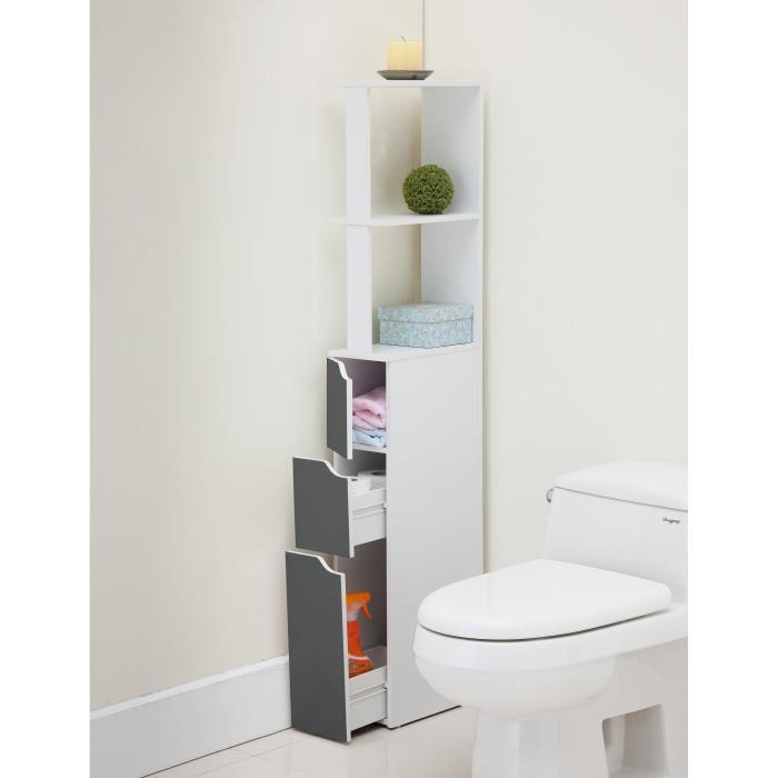 aucune top colonne de toilette 15 cm blanc et gris 390594. Black Bedroom Furniture Sets. Home Design Ideas