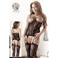 Combinaisons Mandy Mystery - Combinaison noire style guepiere a bretelles - Taille unique - Deluxe Mandy