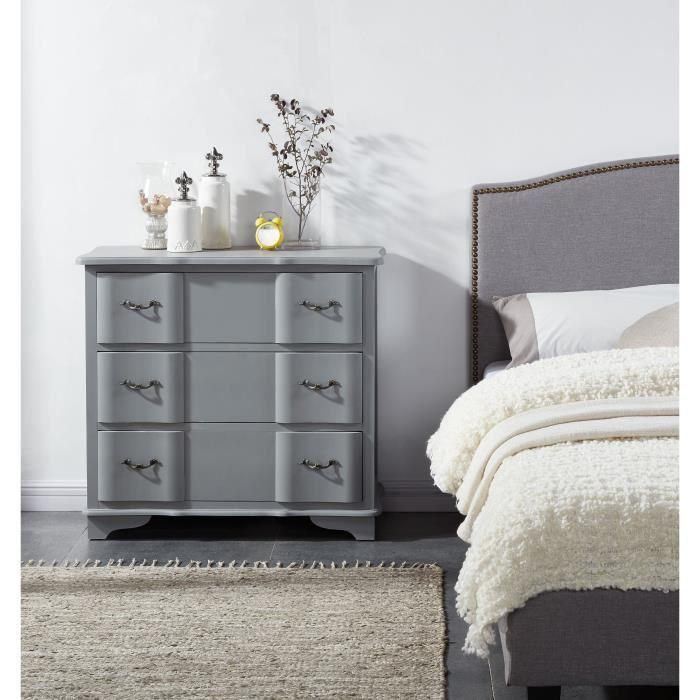 Aucune amboise commode de chambre 93 cm laqu gris mat for Meuble bureau 974
