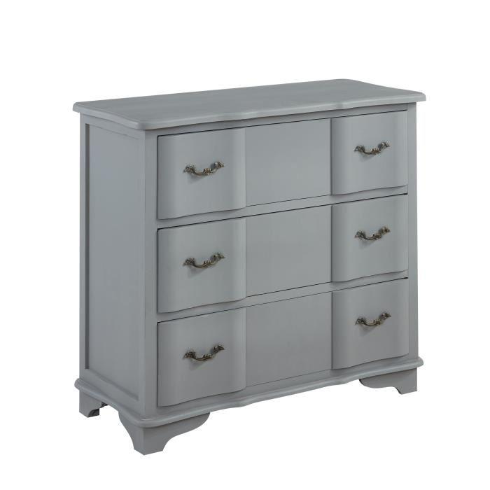 aucune amboise commode de chambre 93 cm laqu gris mat. Black Bedroom Furniture Sets. Home Design Ideas