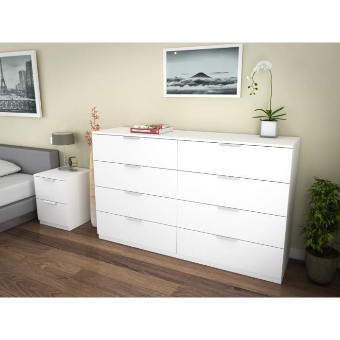 aucune billund commode 8 tiroirs 160cm blanc 263605. Black Bedroom Furniture Sets. Home Design Ideas