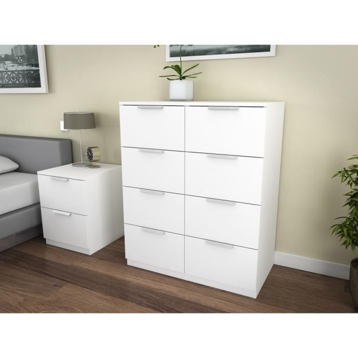 aucune billund commode 8 tiroirs 80cm blanc 263601. Black Bedroom Furniture Sets. Home Design Ideas