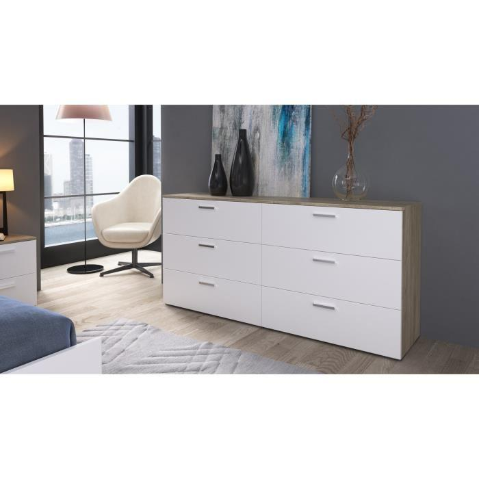 aucune city commode de chambre 160 cm decor chene clair et blanc 396104. Black Bedroom Furniture Sets. Home Design Ideas