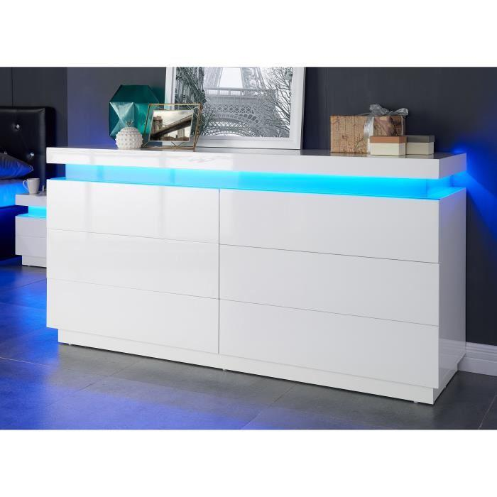 aucune flash commode 150 cm avec led multicolore blanc brillant 386319. Black Bedroom Furniture Sets. Home Design Ideas
