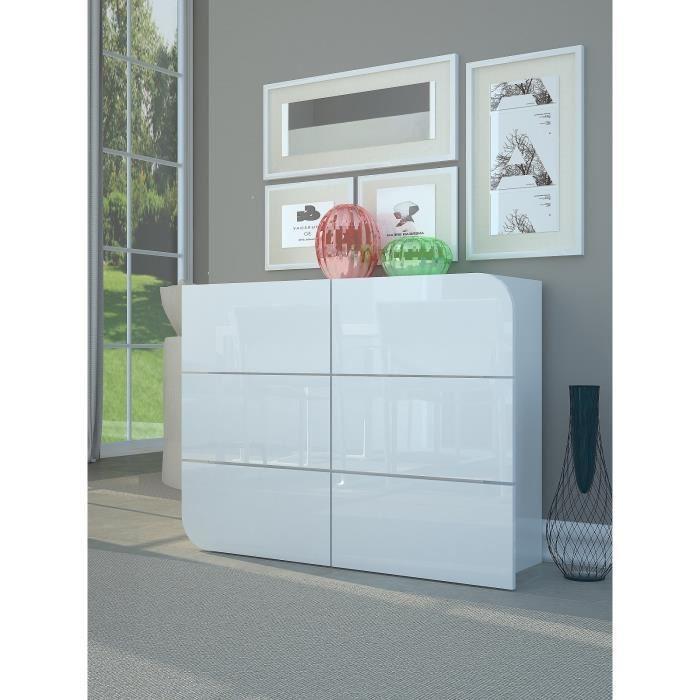 Aucune goccia commode 110 cm blanc laqu brillant 308290 for Chambre a coucher blanc laque brillant