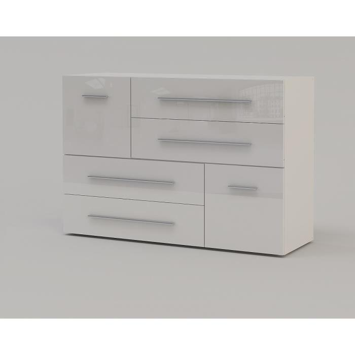 aucune lisboa commode 120 cm blanc laqu brillant 317750. Black Bedroom Furniture Sets. Home Design Ideas