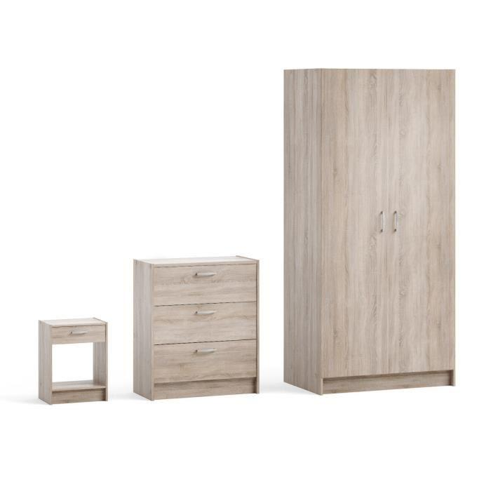 aucune moove pack 3 meubles armoire commode chevet 429443. Black Bedroom Furniture Sets. Home Design Ideas