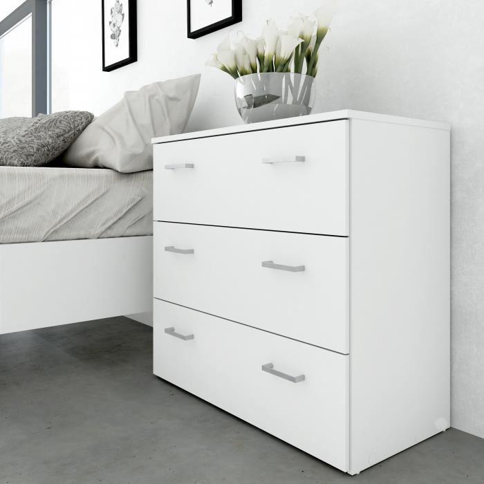 aucune space commode 3 tiroirs 74 cm blanc 292900. Black Bedroom Furniture Sets. Home Design Ideas