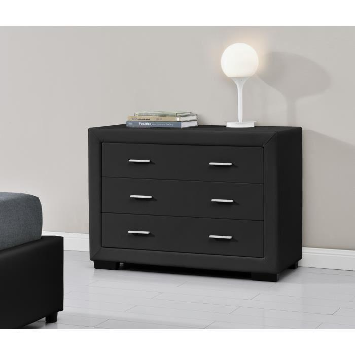 aucune zurich commode de chambre en simili 100 cm noir. Black Bedroom Furniture Sets. Home Design Ideas