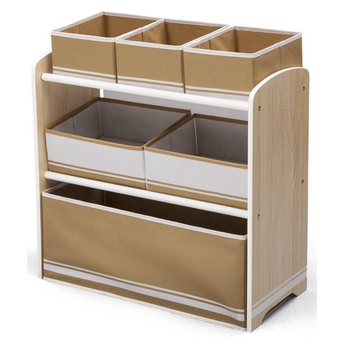 Delta meuble de rangement enfant jouets 6 bacs en bois 286171 - Meuble de rangement jouets ...