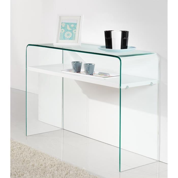 aucune clear console 110x35 cm laque blanc brillant 300905. Black Bedroom Furniture Sets. Home Design Ideas