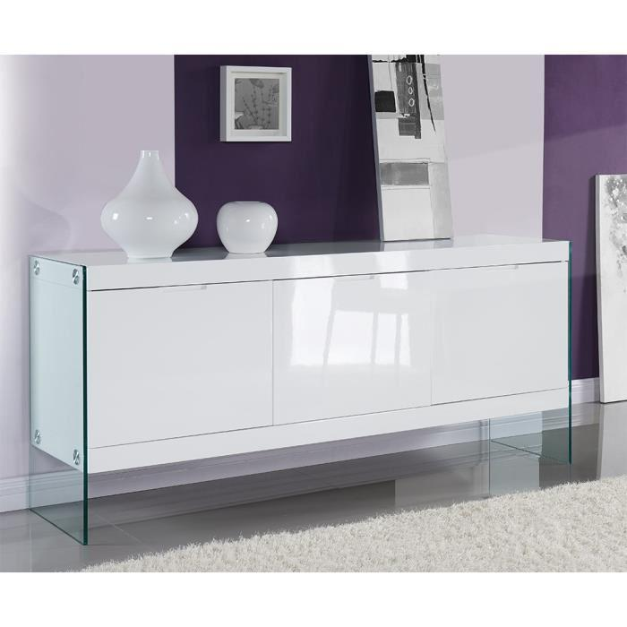 aucune crea buffet 183x45 cm laqu blanc brillant 303600. Black Bedroom Furniture Sets. Home Design Ideas