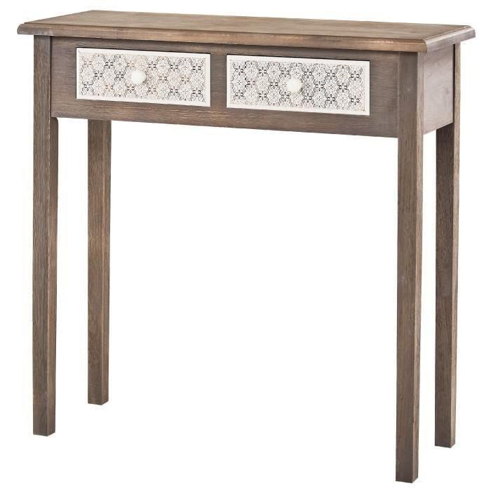 virginia console romantique gris et blanc plateau placage bois paulownia verni l 80 cm 561256. Black Bedroom Furniture Sets. Home Design Ideas