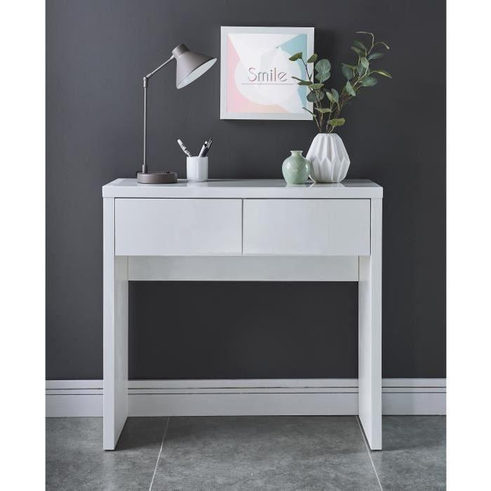 whitney console style contemporain laqu e blanc brillant l 80 cm 542456. Black Bedroom Furniture Sets. Home Design Ideas