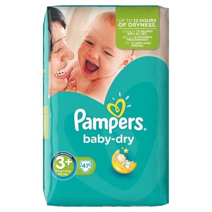 Pampers pampers baby dry taille 3 5 a 10 kg 47 couches 316483 - Couche pampers baby dry taille 3 ...